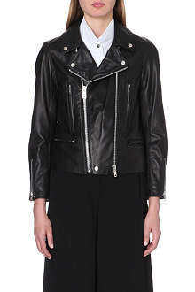 UNDERCOVER Stripe lining leather biker jacket