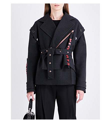 PROENZA SCHOULER Self-tie wool and silk-blend jacket (Charcoal+melange