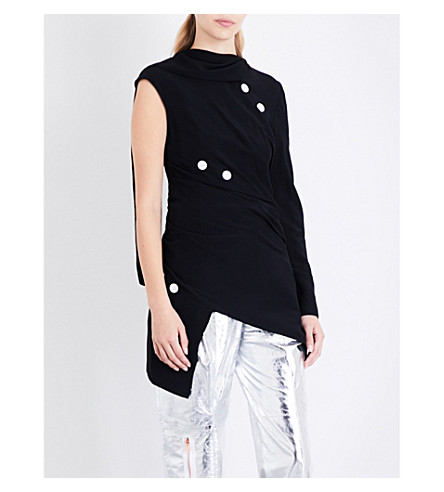 PROENZA SCHOULER Draped scarf-panel crepe top (Black