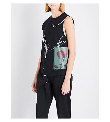 PROENZA SCHOULER Abstract rose-print stretch-cotton top (Black+splatter+rose