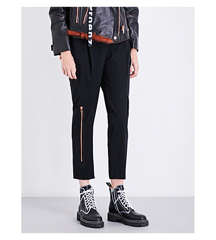 PROENZA SCHOULER Straight cropped stretch-wool trousers (Black