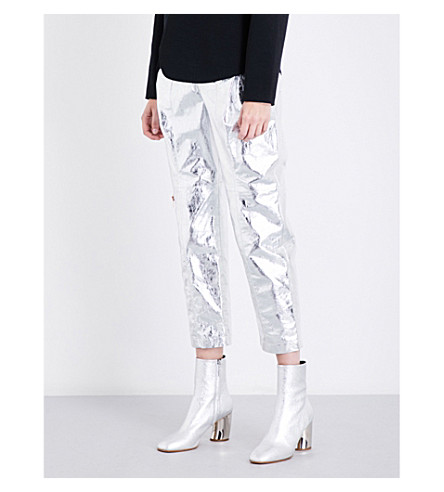 PROENZA SCHOULER Crinkled metallic straight leather trousers (Silver