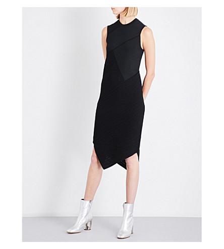PROENZA SCHOULER Contrast-panel asymmetric-hem woven dress (Black