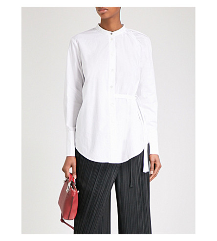 PROENZA SCHOULER Open-shoulder cotton-poplin shirt (White