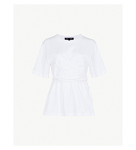 PROENZA SCHOULER Draped cotton T-shirt (Optic white