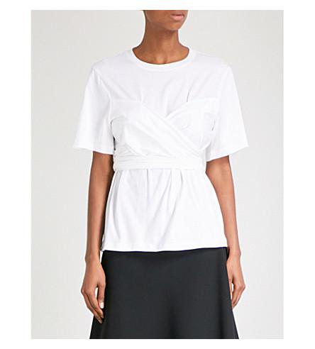 PROENZA SCHOULER Draped cotton T-shirt (Optic+white