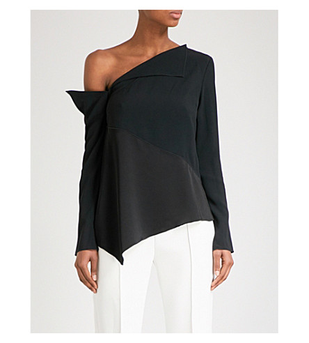PROENZA SCHOULER One-shoulder folded crepe top (Black