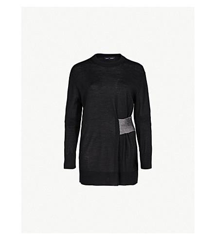 PROENZA SCHOULER Ribbed-panel wool and silk-blend jumper (Black