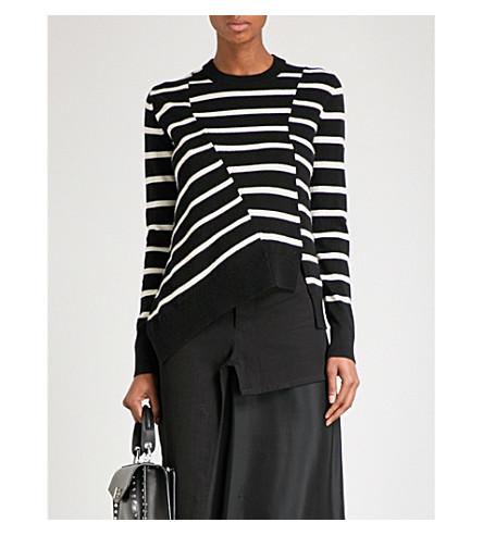 PROENZA SCHOULER Asymmetric-panel striped cashmere-blend jumper (Black/oatmeal