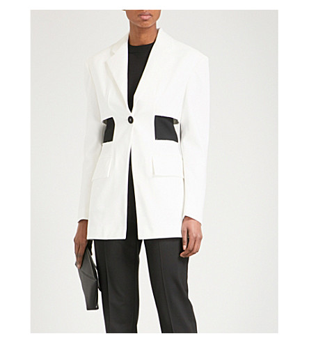 PROENZA SCHOULER Cutout waist cotton-blend jacket (Off+white