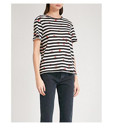PROENZA SCHOULER Striped and floral-pattern cotton-jersey T-shirt (Coral/black stripe cont