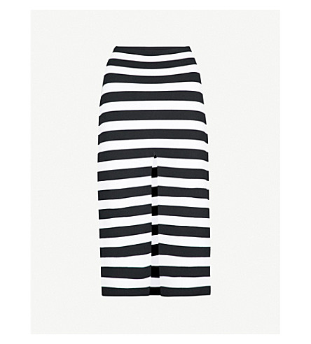 PROENZA SCHOULER Striped knitted pencil skirt (Black off white