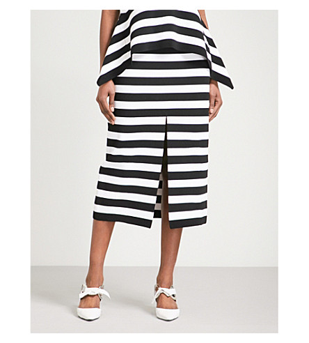 PROENZA SCHOULER Striped knitted pencil skirt (Black/off+white