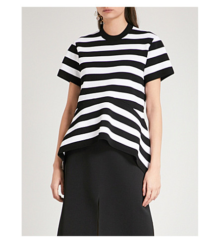 PROENZA SCHOULER assymetric-下摆条纹棉衫 t恤衫 (黑色/off + 白色