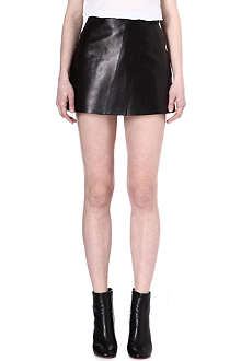 YANG LI Wrap-style mini leather skirt