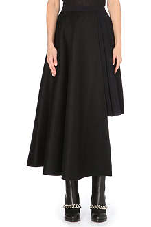 YANG LI Pleated-insert wool skirt