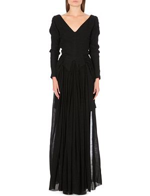 YANG LI Distressed pleated-front gown
