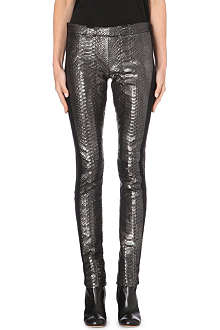 HAIDER ACKERMANN Python-embossed leather leggings
