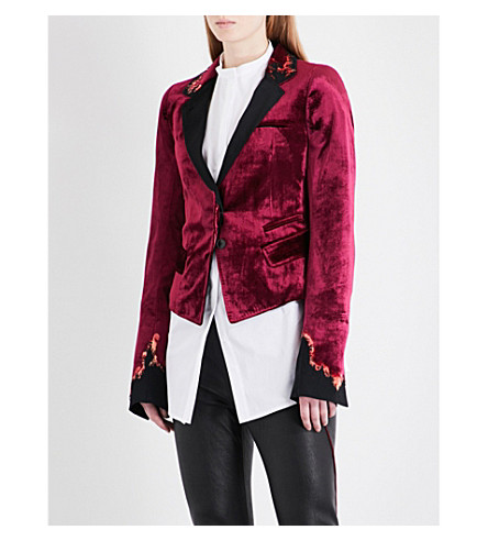 HAIDER ACKERMANN Single-breasted velvet tuxedo blazer (Red