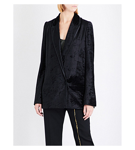HAIDER ACKERMANN Double-breasted crushed-velvet blazer (Black