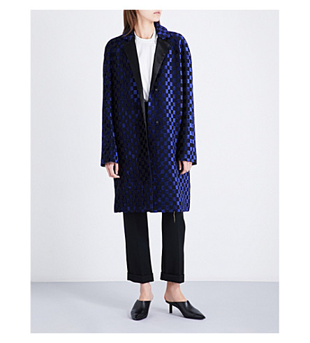 HAIDER ACKERMANN Single-breasted chequered metallic-jacquard coat (Electric blue