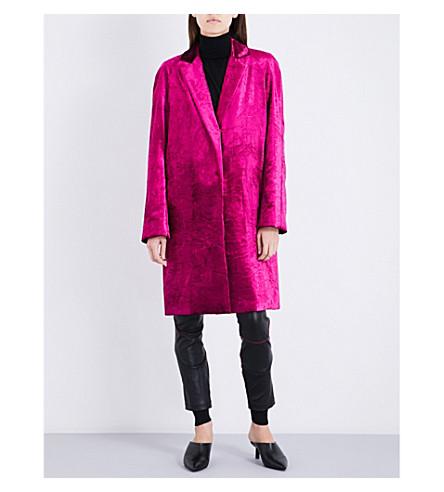 HAIDER ACKERMANN Single-breasted crushed velvet coat (Fuschia