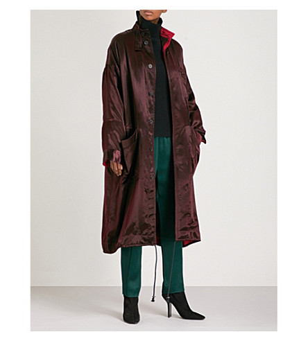 HAIDER ACKERMANN Oversized satin parka coat (Aubergine