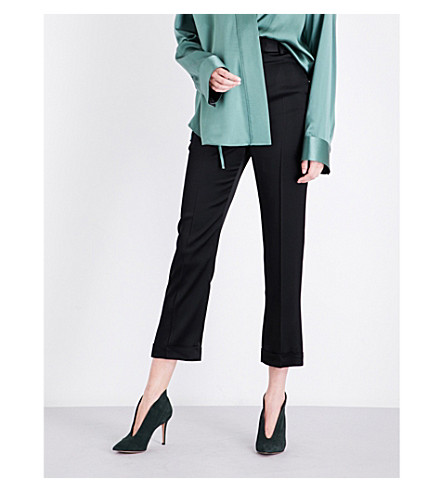 HAIDER ACKERMANN Cropped satin-crepe trousers (Black