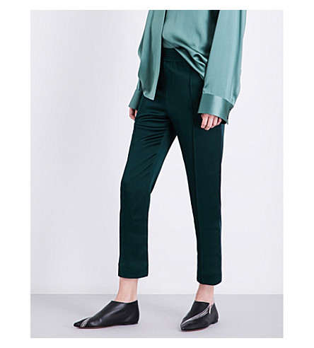 HAIDER ACKERMANN Cropped satin trousers (Green