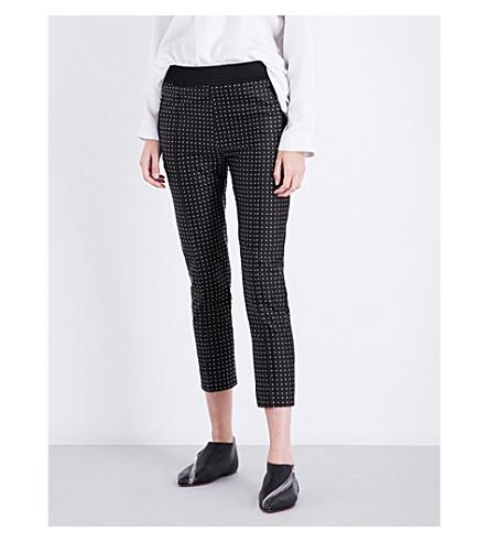 HAIDER ACKERMANN Cropped polka-dot silk-blend trousers (Black