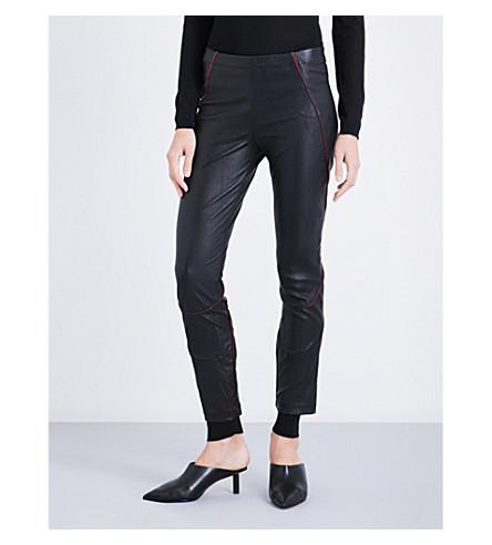 HAIDER ACKERMANN Contrast-trim tapered leather leggings (Black/red