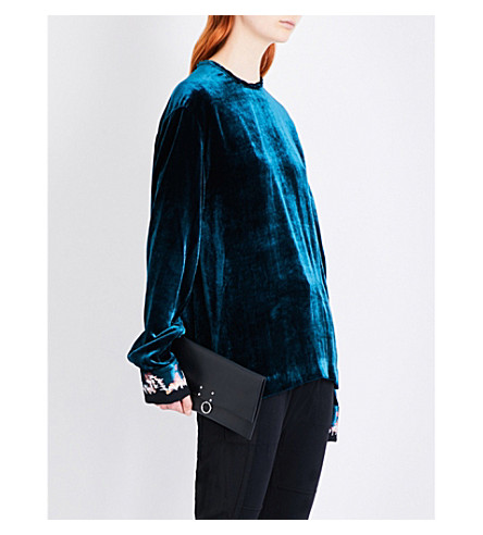 HAIDER ACKERMANN Cuff-embroidered velvet top (Bottle