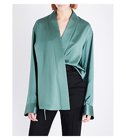 HAIDER ACKERMANN Wrapped silk-blend kimono shirt (Green/black