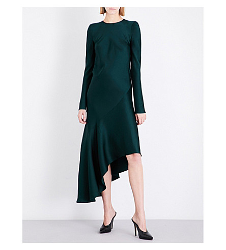 HAIDER ACKERMANN Asymmetric crepe midi dress (Green/black