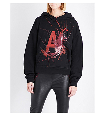 HAIDER ACKERMANN Contrast-panel cotton-jersey hoody (Black