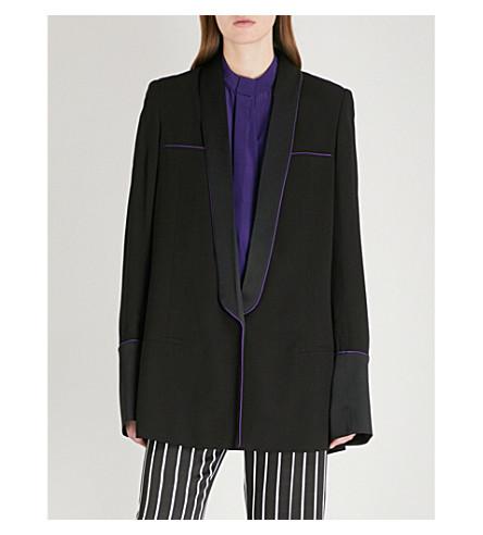 HAIDER ACKERMANN Shawl-lapel crepe blazer (Azurite+black