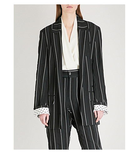 HAIDER ACKERMANN Striped single-breasted crepe blazer (Kunzite+black
