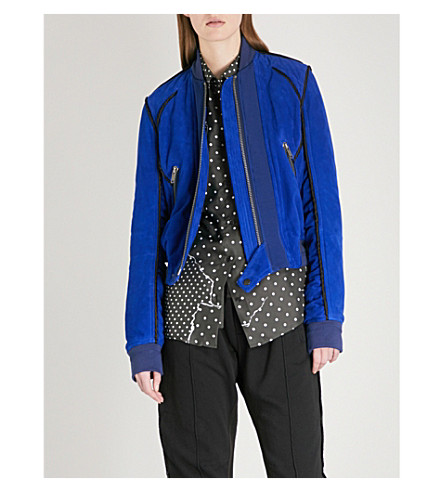 HAIDER ACKERMANN Cropped suede bomber jacket (Kimberlite+blue