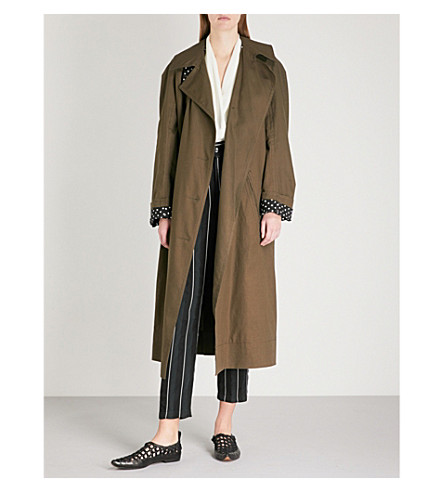 HAIDER ACKERMANN Raglan-sleeve cotton-blend trench coat (Pollucite+khaki