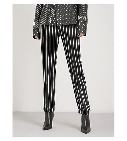 HAIDER ACKERMANN Striped crepe cigarette trousers (Morganite+black