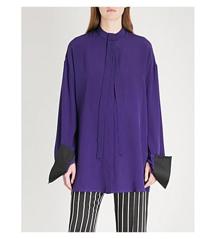 HAIDER ACKERMANN Neck-tie silk blouse (Sapphirine+purple