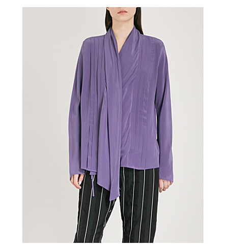 HAIDER ACKERMANN Draped-front silk-crepe shirt (Saphirine+lilac/dali+blk