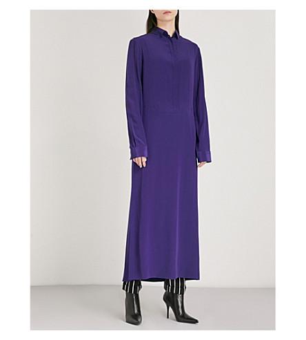 HAIDER ACKERMANN Silk-crepe maxi shirt dress (Sapphirine+purple