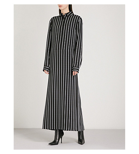 HAIDER ACKERMANN Striped cotton-crepe maxi shirt dress (Morganite+black