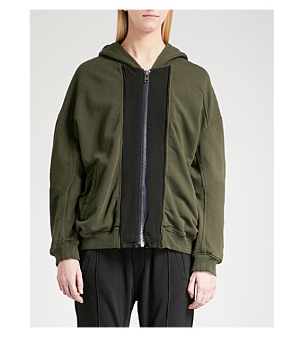 HAIDER ACKERMANN Panelled cotton-jersey jacket (Perth+khaki+dye