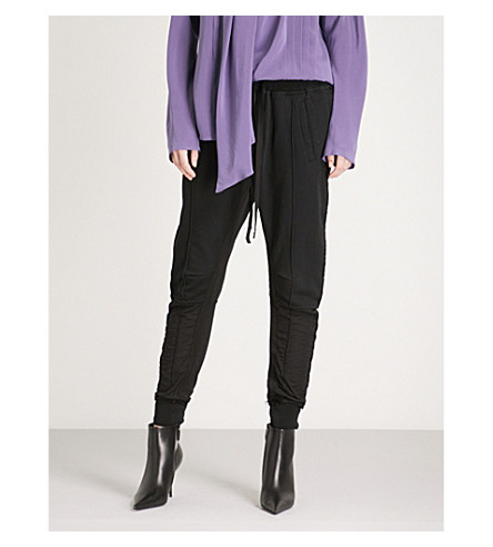 HAIDER ACKERMANN Relaxed-fit skinny cotton-jersey jogging bottoms (Perth+hals+black