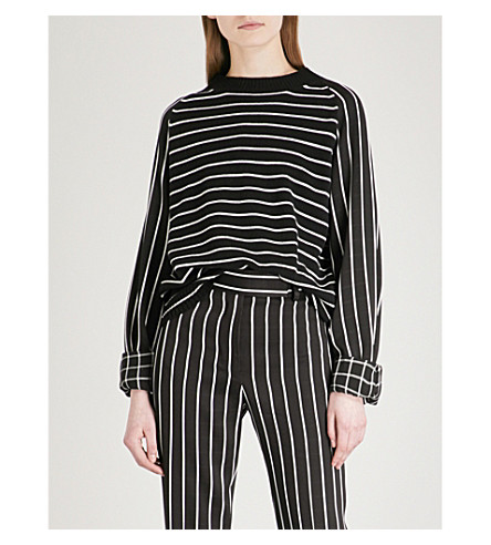 HAIDER ACKERMANN Contrast-sleeve wool and cashmere-blend top (Invidia+blk/invidia+wht