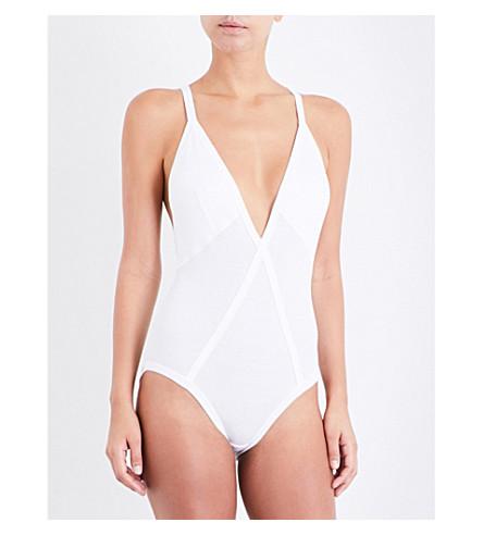 CALVIN KLEIN 205W39NYC Ribbed stretch-cotton bodysuit (White