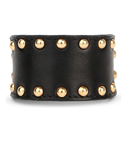 ZANA BAYNE Studded leather buckle bracelet (Black