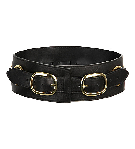 ZANA BAYNE Double buckle leather waist belt (Black